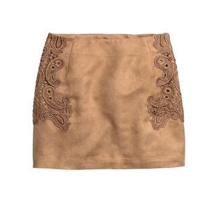 H&M DIVIDED Suede Embroidered Skirt